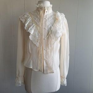 1960s Blouse House Ivory & Lace Button Down Blouse